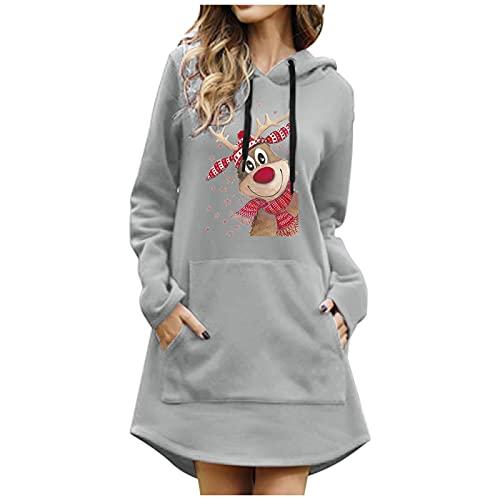 Boshivw Maglione natalizio da donna, con stampa pura, maglione natalizio, casual, a maniche lunghe, con cappuccio, Grigio 1, L