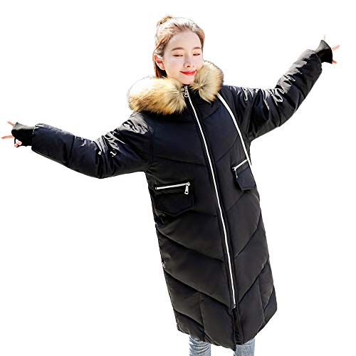 FRAUIT lange winterjas met capuchon dames wollen jas donsjas trenchcoat dames herfst winter rits kunstbont met capuchon sterke warme lange mantel S-2XL