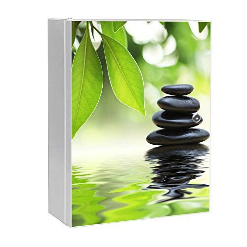 banjado XXL Medizinschrank abschliessbar | großer Arzneischrank 35x46x15cm | Medikamentenschrank aus Metall weiß | Motiv Steine&Relax mit 2 Schlüsseln | Gestaltung auf Front