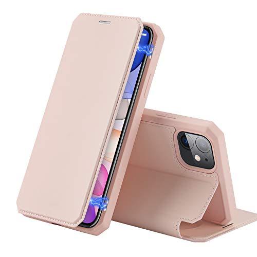 DUX DUCIS Hülle für iPhone 11, Premium Leder Magnetic Closure Flip Schutzhülle handyhülle für Apple iPhone 11 Tasche (Rosa)