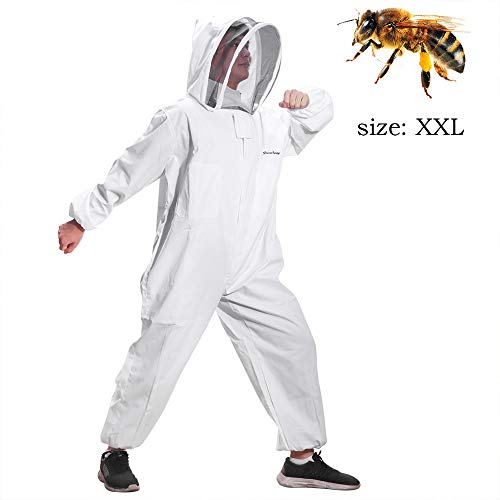 Greenbang Bijenteelt Suit, Super Dikke Bijenteelt Pak Opvouwbare Hekken Sluier Coverall Bijen Bescherming Pak Smock met Rits Voorzijde XXL(180-190CM)