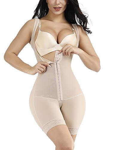 FeelinGirl Mujer Faja Reductora Chaleco sin Costura Corsé Bustier Ajustable Tirantes Faja Aabdominal Beige 3XL/Talla 46-48
