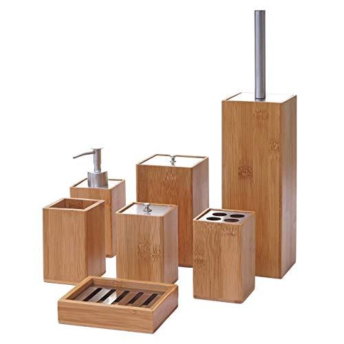 Set Accessori da Bagno HWC-A90 7 Pezzi Legno Bambu e Metallo