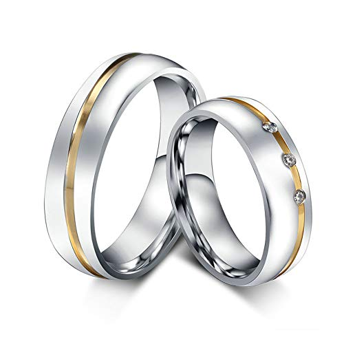 ANAZOZ Schmuck Paar Eheringe aus Edelstahl mit 3 Zirkonia Verlobungsringe Partnerringe Frauenring Gold Silber Größe 60 (19.1) (Preis nur für 1)