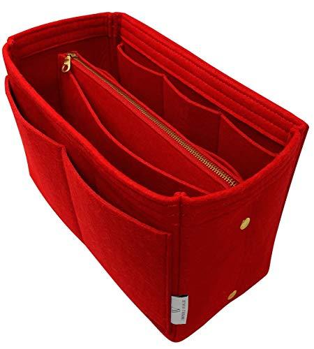 Lujoso organizador de bolsas de fieltro – Bolsa de mano con cremallera desmontable Rojo Rojo Medium