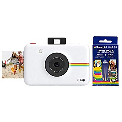 Polaroid Snap Instant Digital Camera (White) w/ 20 Twin Pack Zink 2x3 Photo Paper