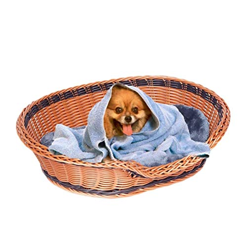 QXF-D Pet Bed, Large Dog Basket Rattan Wicker Puppy Nest Washable Mat Four Season Teddy Supplies Suitable For Small And Medium Dogs (Color : Brown, Size : S56*44cm)