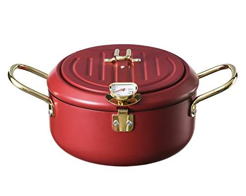 Freidora profunda, Control de temperatura Tempura Chip Pan de hierro fino Freidora japonesa Olla de cocina para piernas de pollo, pescado seco, Tempura 2.6L (freidora roja vino)