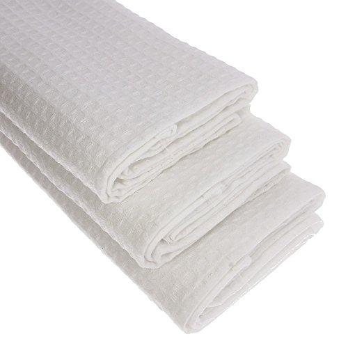 3x Geschirrtuch aus 100% Baumwolle Waffel-Piqué in weiss, 100% Baumwolle, 70x50 cm