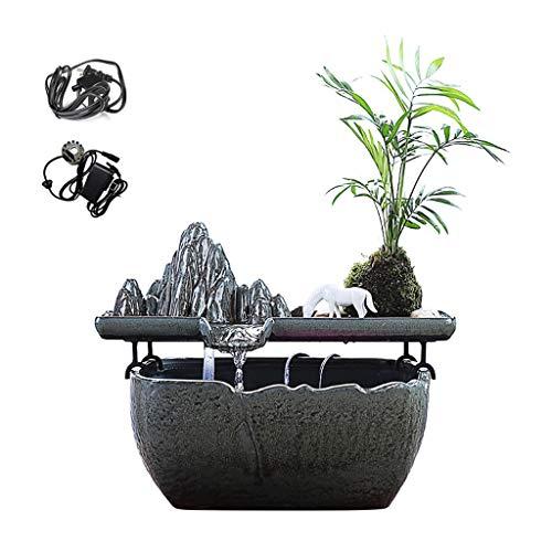 Fuentes de Interior Feng Shui Lucky fuente decoración de escritorio con la bomba del tanque de pescados de cerámica de rocalla paisaje de la cascada de agua de oficina Escritorio regalos humidificador