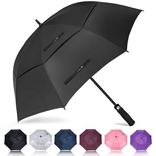 ZOMAKE Paraguas Grande Antiviento, Automático Paraguas de Golf con Doble Cubierta para Mujer Hombre(Negro)