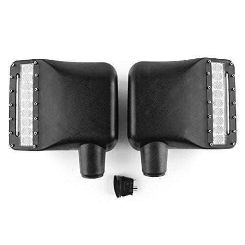 2 pcs côté View Cover Kit de miroir Rétroviseur boîtier LED avec tour Signal lumière Recul Signal lamps pour Wrangler (Noir)