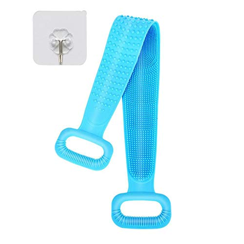 Chouwow Silicone Bath Body Brush, Exfoliating Lengthen Silicone Body Back Scrubber, Easy to Clean, Lathers Well, Eco Friendly, Long Lasting, Comfortable Massage for Shower (Blue)