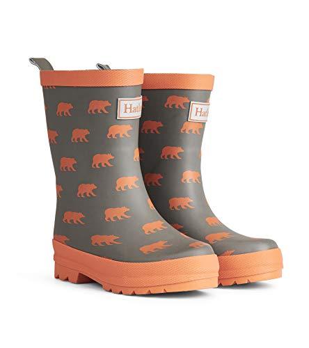 Hatley Boys' Toddler Rain Boots, Matte Silhouette Bears, 7 US Child