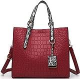 XPTW Nuevo bolso de mujer con patrón de cocodrilo, bolso de hombro de cuero de diseñador para mujer, bolso bandolera de gran capacidad para mujer, bolso + cartera rojo