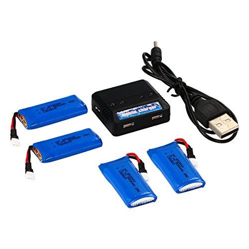 YUNIQUE Italia Caricatore 1 TO 4 con 4 Batterie da 500mAh LIPO Ricaricabile per HUBSAN X4 H107L H107C H107D H107 V252 JXD 385