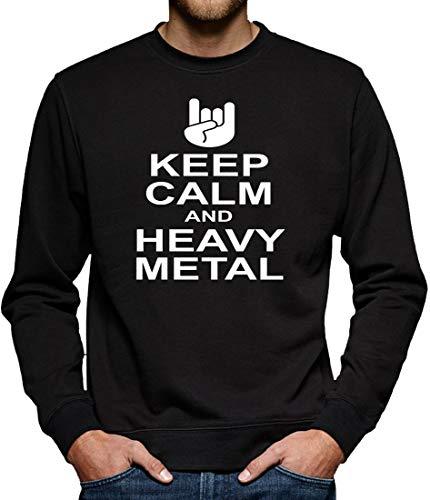 Keep Calm and Heavy Metal Sweatshirt Pullover Herren L Schwarz