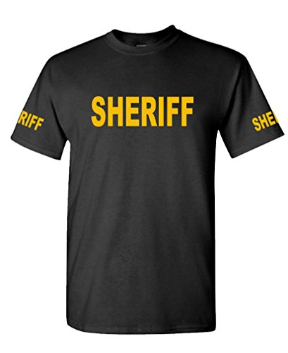 v2 Sheriff - Law Enforcement Duty Police - Mens Cotton T-Shirt, L, Black