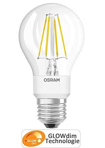 OSRAM Ampoule LED GLOWdim, Forme Classique, Culot E27, 10W Equivalent 60W, 220-240V, dépolie, Dimmable du Blanc Chaud 2700K à Très Chaud 2300K, Lot de 1 pièce