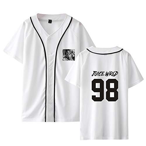Juice WRLD Camiseta Baseball Manga Corta Sudadera Sin Capucha Unisex Camisa Sweatshirt Sueter Blusa Cuello V Jersey con Botones Pullover Hip Hop Jumper Tunica Top Streetwear C04172JK022M