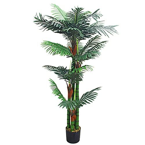 Decovego Künstliche Palme groß Kunstpalme Kunstpflanze Palme künstlich wie echt Plastikpflanze Arekapalme 150 cm hoch Balkon Deko