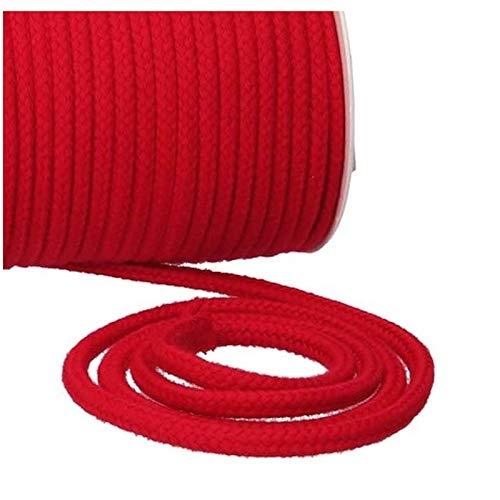 Turnbeutel Liebe® - Cordón 100% algodón, 8 mm de ancho, grueso, para bolsas de gimnasio, bolsas y pantalones, para coser, muchos colores y longitudes, Trenzado, Cuerda, Cinta para manualidades rojo