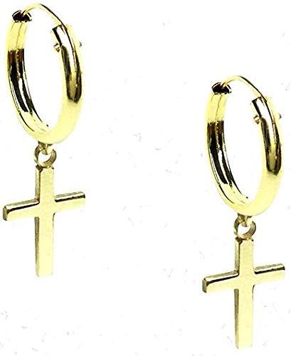 Pendientes oro niña,mujer o hombre, modelo aro con cruz solida abajo de maxima calidad. Con cierre oculto.