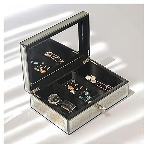 Caja de joyería Caja De Joyería, Cristal De Lujo Con Espejo De Joyería Con Espejo De Joyería De Espejo Organizador Caja De Joyería Para Mujeres, Estilo Europeo De Estilo De Lunares De Estilo Europeo J