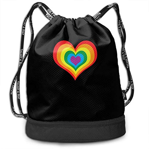 zhangyuB Rainbow Heart LGBT Sac de Cordon for Mens and Womens, 100% Polyester Durable Bundle Backpack