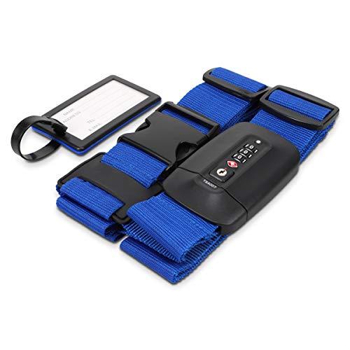 Navaris Correa para Maleta con candado TSA - Cinturón Cruzado para Equipaje con Bloqueo de Seguridad - Cinta Ajustable con Clave Personalizada - Azul