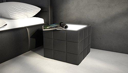 SAM® Nachtkommode, Nachtkonsole Nako 800 in schwarz mit LED-Beleuchtung in der Glasablagefläche, pflegeleichter Nachttisch, futuristisches Design