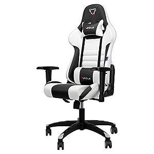 Furgle Office Gaming Chair Silla de Carreras con Respaldo Alto y reposabrazos Ajustables Piel sintética Silla de Videojuegos giratoria con Modo balancín (Blanco & Negro)