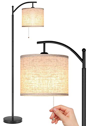 Joofo Floor Lamp, Living Room Floor Lamp, Reading Standing Light with Hanging Lampshade, 9W LED Light Bulb and 3 Color Temperatures Floor Lamp for Living Room, Bedrooms, Office, Black