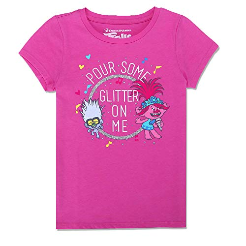 DreamWorks Trolls Girls Poppy Sparkle Time Glitter T-Shirt, Pink, XXS(4/5)