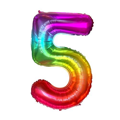 SIWJ Globos arco Kit 20 50 piezas de 40 pulgadas Jelly New Rainbow Number Foil Globos de color degradado Número Globo Feliz Cumpleaños Boda Decoración Adulto Globos Coloridos Unicornio