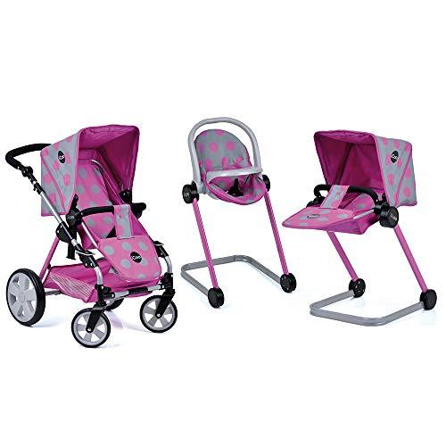 iCoo Puppenwagen-Set Grow with me (inkl. Babyschale, Hochstuhl & Puppenbettchen) - Pink Grau