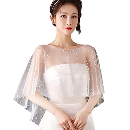 SHURROW Women Faux Pearl Beading Shawl Wrap Shrug Bridal Cape Wedding Bolero Cover Up Wedding Shawl White