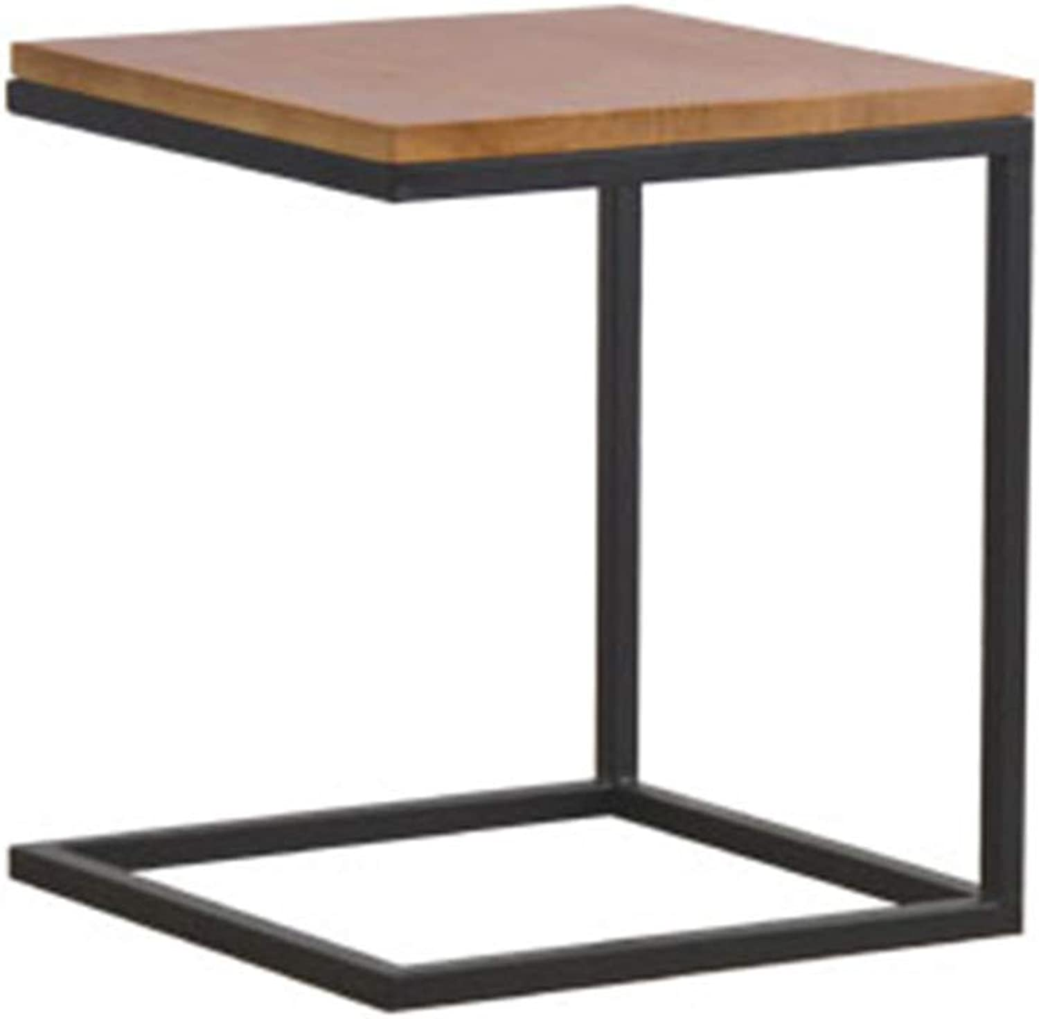 YNN Sofa Side End Table with Modern C Shape Construction Black Steel Frame and Natural Wood (color   A)