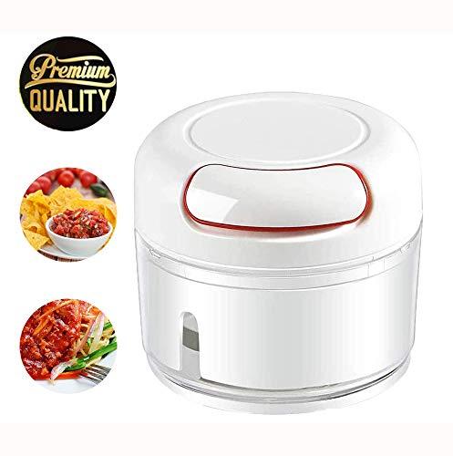 Garlic Chopper, Mini Manual Garlic Chopper,Food Processor for Garlic Onion Ginger Chili Nuts Meat (170ML) (black)
