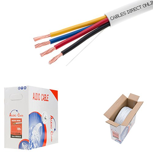 500ft 18AWG 4 Conductors (18/4) CL2 Rated Loud Speaker Cable Wire, Pull Box (for in-Wall Installation) (18AWG / 4 Conductors, 500ft)