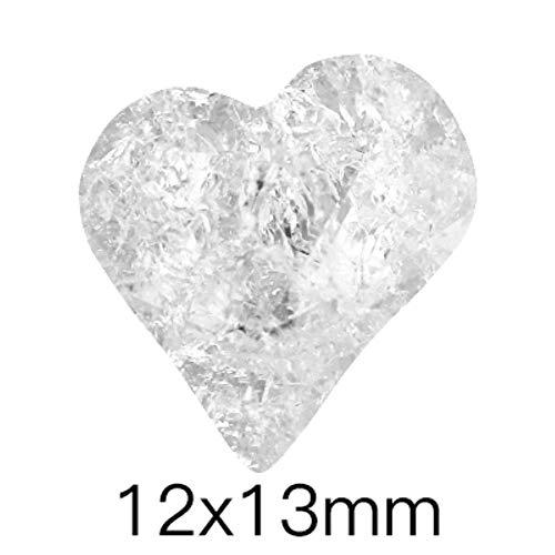 Cristaux de glace transparents pierres petite taille colle sur les ongles strass Pointback verre clair S ongles décoration pierres lâches, coeur 12x13mm, 10Pcs