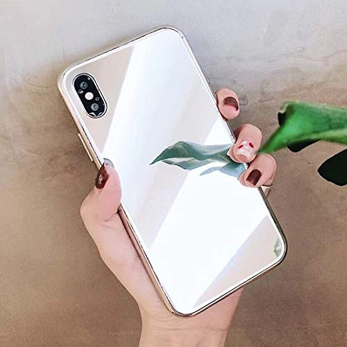AAA&LIU Mirror Square Phone Case para iPhone 12 Mini 11 Pro MAX XR XS MAX 7 8 6S Plus Soft TPU Side + PC Full Body Phone Cover, C, para 7 Plus u 8 Plus