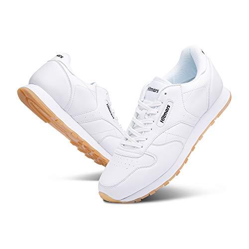 Zapatillas Hombre Mujer Casual Sneaker Gimnasio Cómodos Clásico Zapatos Deportivas Running Blanco 3 Talla 43