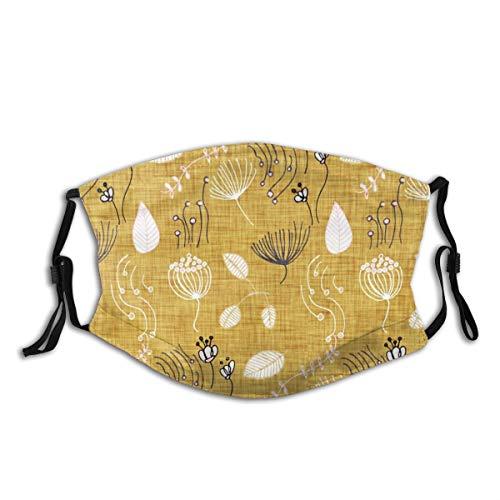 Lilyo-ltd Winter Floral Senf wiederverwendbar Tuch Gesichtsmaske Fashion Protective Bandana Unisex Gesichtsschutz Sturmhaube Shiled waschbar