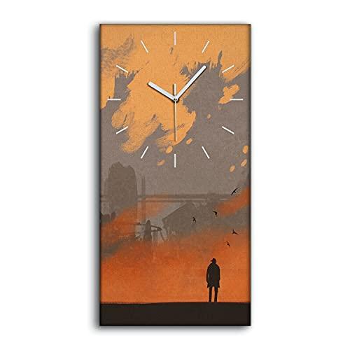 Coloray Reloj sobre Lienzo - Manecillas Blanco -30x60cm Decoración No Marques en Silencio Salón Dormitorio Arte Moderno Mural Imagen - El Hombre está de pie en una Ciudad abandonada.