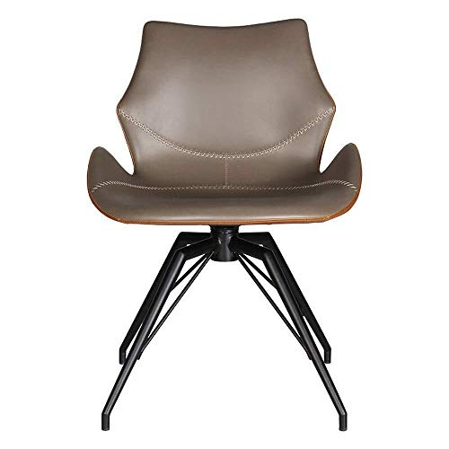 Zhenhe nórdico Silla de comedor Sillón comedor silla moderna minimalista Negociación silla giratoria de cuero silla sillas de cocina (Color: Marrón, Tamaño: 49x48x81cm) Adecuado para sala de estar, of