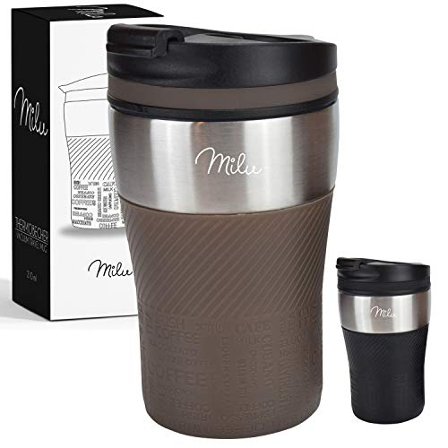 *Milu Thermobecher Isolierbecher Kaffeebecher to go – 210ml 100% Auslaufsicher – Trinkbecher aus Edelstahl – Autobecher doppelwand Isolierung – Thermo Becher – Travel Mug (Braun)*