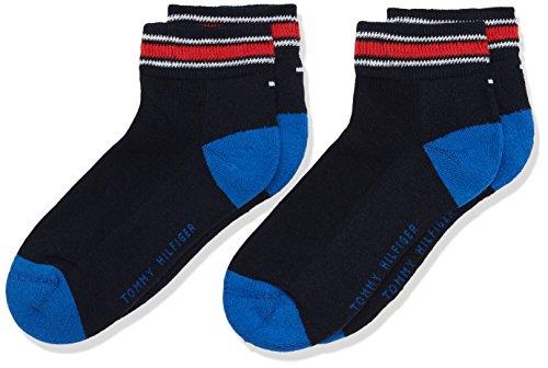 Tommy Hilfiger Jungen TH Kids Iconic Sports Quarter 2P Socken, Blau (Midnight Blue 563), 31-34 (2er Pack)