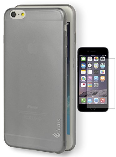 iPhone 6 Plus Case, Fenix Full-Body Protection Heavy Duty Case, Rubberized Gel for Apple iPhone 6 Plus (5.5 Inch) (Slim Fit) - Tough Smoke Gray Clear Case [[Includes a Screen Protector]]