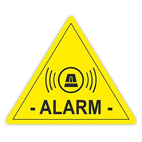 5 Stück Aufkleber Alarm, iSecur®, alarmgesichert, 5x4cm, hin_066 Achtung, Vorsicht, Hinweis auf Alarmanlage, außenklebend für Fensterscheiben, Haus, Auto, LKW, Baumaschinen